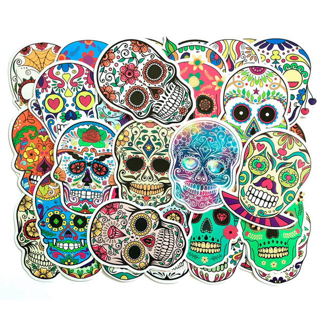 Colorful Waterproof Horror Skull Decal Stickers 50 Pcs