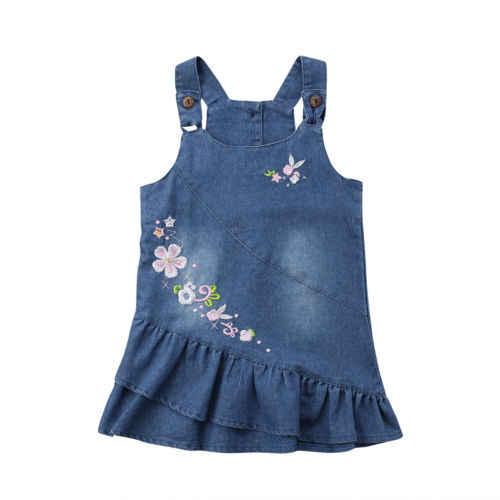 434fd506fec Дети для маленьких девочек платье в цветочек без рукавов Цветочный джинсовое  мини-платье сарафан Летняя
