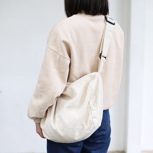Image 3 - 女性のキャンバスのショルダーバッグ綿の布クロスボディバッグ固体ジッパーハンドバッグショッピングバッグトートバッグ学生エコシンプルなブックバッグ