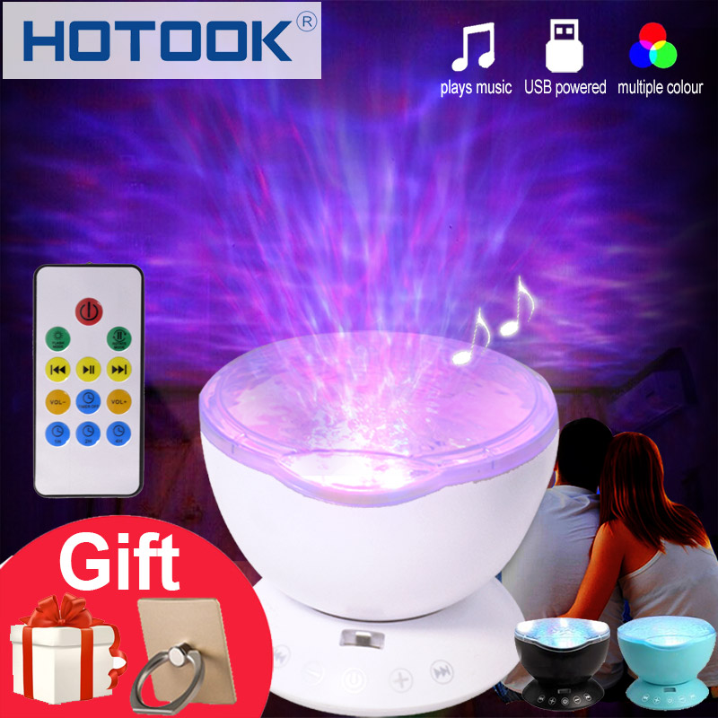 HOTOOK LED Night Light 7 Colors Ocean Wave Projector Light Novelty Aurora Sky Master LED Music Player USB Powered Kid Baby Gift