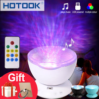 HOTOOK LED Night Light 7 Colors Ocean Wave Projector Light Novelty Aurora Sky Master LED Music