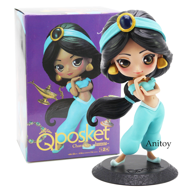 Q Posket Characters Aladdin Princess Jasmine PVC Figure Model Toy Princess Doll Gift for Girl 14cm q posket beauty and the beast belle pvc figure model toy princess doll gift for girls 13cm