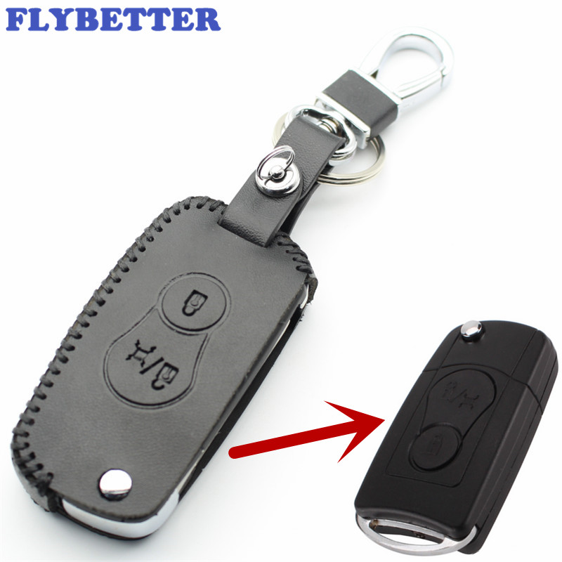 FLYBETTER Genuine Leather 2Button Flip Key Case Cover For Actyon/SUV/ Car Styling L2227