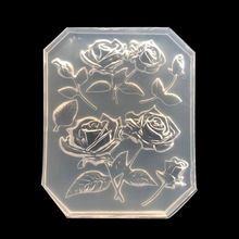 New Mirror DIY Handmade UV Crystal Epoxy Mold With Leaf Big Rose Jewelry Pendant Accessories