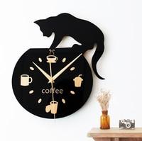 New Arrival Cartoon Cute Cat Wall Clock Mute Children Bedroom Wall Clock Creative Decoration