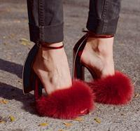 Top selling peep toe rabbit fur high heel sandals fashion ankle buckle summer sandals red black cover heels wedding party shoes