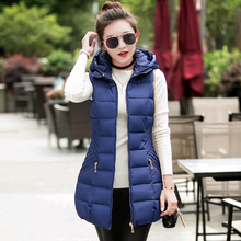 Новая мода осень-зима женщин жилет 2017 Женская куртка без рукавов хлопок теплый с капюшоном длинный жилет женский пальто жилет