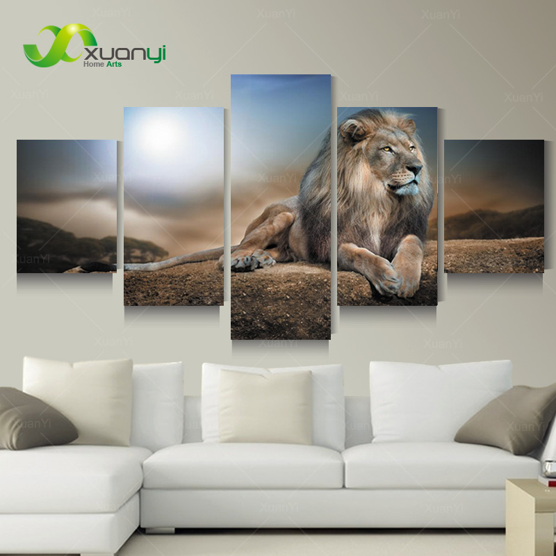 buy 5 panel wall art modern printed animal lion oil painting canvas painting. Black Bedroom Furniture Sets. Home Design Ideas