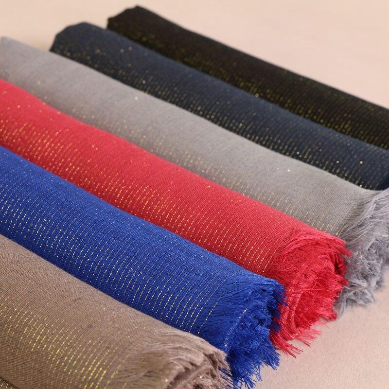 Women Plian Glitter Scarves Lurex Viscose Scarf Gold Shimmer Muslim Long Wraps Shawls Hijab Scarf 12 Color 190*95cm 10pcs/lot