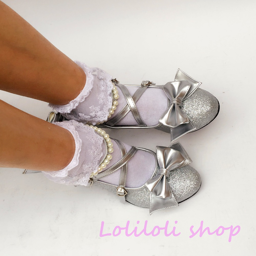 Princess sweet lolita shoes Japanese design customized special shaped shinning silver bow tie Stiletto heels shoes 5006a цена