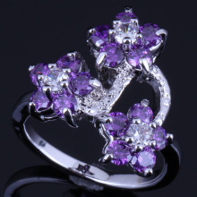 Enjoyable Flower Purple Cubic Zirconia White CZ 925 Sterling Silver Ring For Women V0595