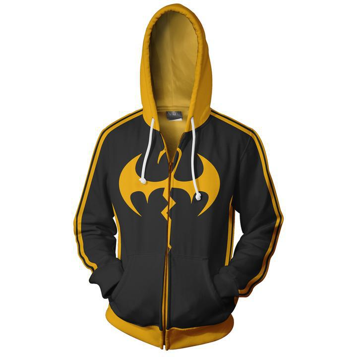 2018 Autumn Winter 3D Print Iron Fist cosplay Superhero Movie Sweatshirts Hoodies Fashion Cosplay Zipper hooded Jacket clothing