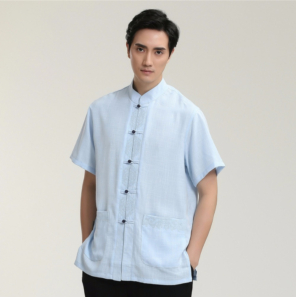 Blue chinese style male dress shirt novelty men kung fu for Soft cotton dress shirts