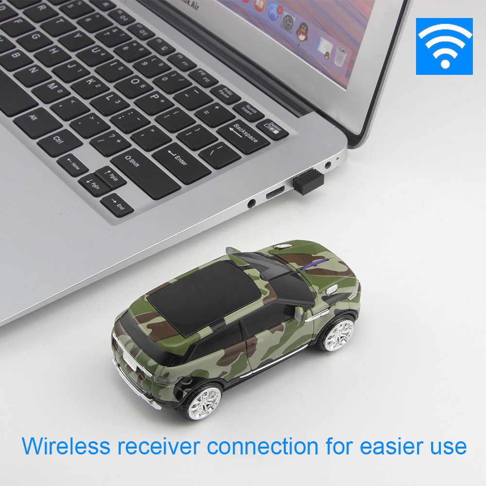 Chuyi Mouse Nirkabel Kamuflase Keren Mini SUV Car Mouse 1600 DPI USB Optical Kantor Tikus Komputer Gaming Mause untuk Anak Laki-laki hadiah PC