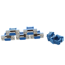 WSFS Hot 5 parts D-SUB 9-pin DB9 Female IDC crimp adapter plug for ribbon cable Blue