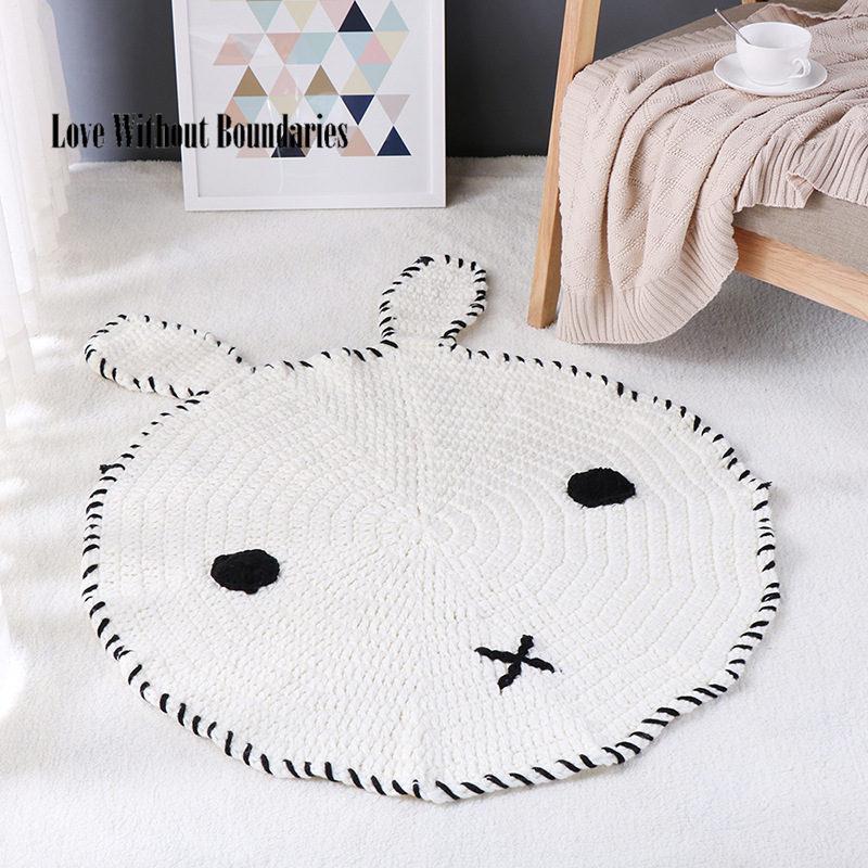 Nouveau Crochet tapis ronds tapis pour enfants salon Animal ours/renard tricot tapis coton tapis de rangement tapis rond 80x80 cm