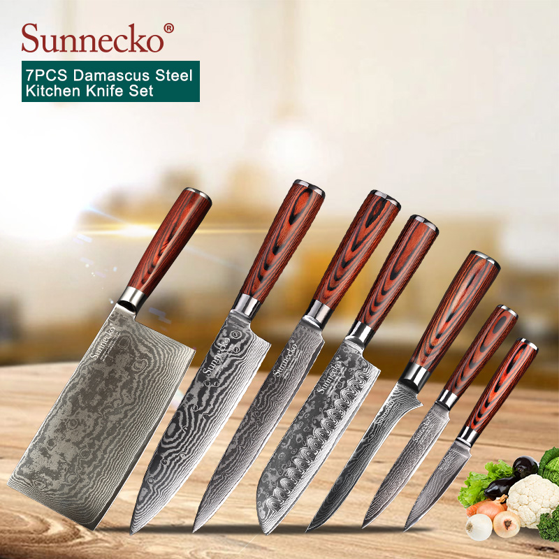 SUNNECKO 7PCS Kitchen Knives Set Utility Chef Knife 73 Layers Damascus VG10 Steel Razor Sharp Pakka Wood Handle Cutting Knife-in Knife Sets from Home & Garden    1