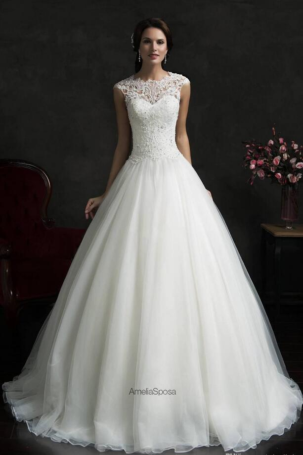 hot sale high neck wedding dresses bolero a line cap