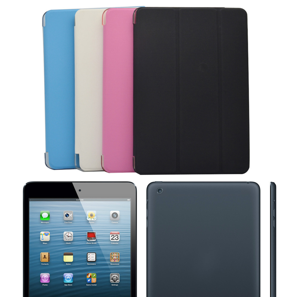 New Ultra Slim Tri-Fold PU Leather Case with Crystal Hard Back Smart Stand Case Cover for iPad mini 1 2 3 7.9 tablet Flip Cover for apple ipad air 2 pu leather case luxury silk pattern stand smart cover
