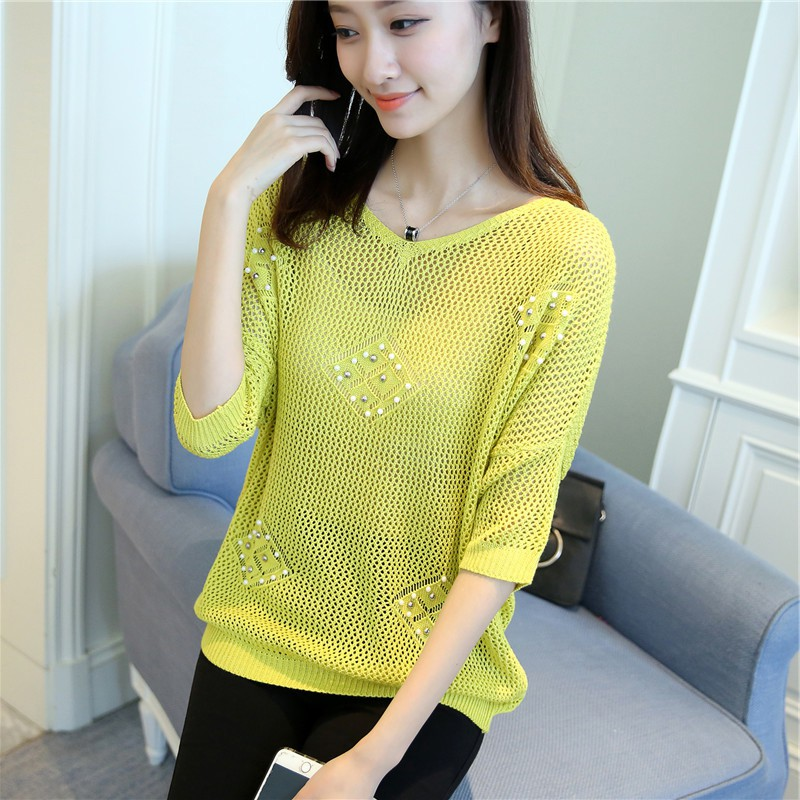 c80162c3366b Women s Hollow Out Sweaters Pearl Beaded Batwing Sleeve knitwear Women s  Loose Pullovers Plus Size Half Female