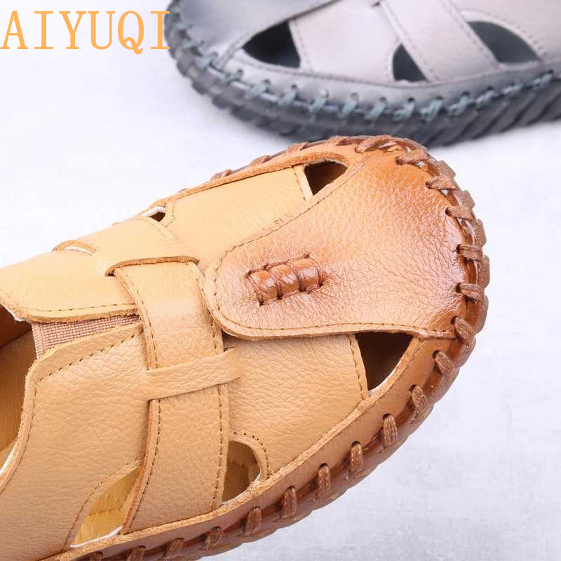 AIYUQI Women 39 s Sandals 2018 Summer Genuine Leather Gladiator Ladies Shoes Leather Sandals Women Flats Retro Style Mother Shoes in Women 39 s Sandals from Shoes