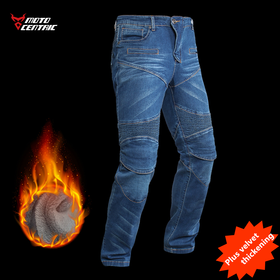 2019 New Plus Velvet Motorcycle Riding Jeans Men's Winter Warm Stretch Slim-proof Anti-fall Motorcycle Riding Pants K