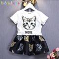 2016 New Kids Girls Summer Clothes Cartoon Cat Design T-shirt+Skirt 2pcs Baby Girls Outfits Toddler Clothing Set 0-7Year BC1085