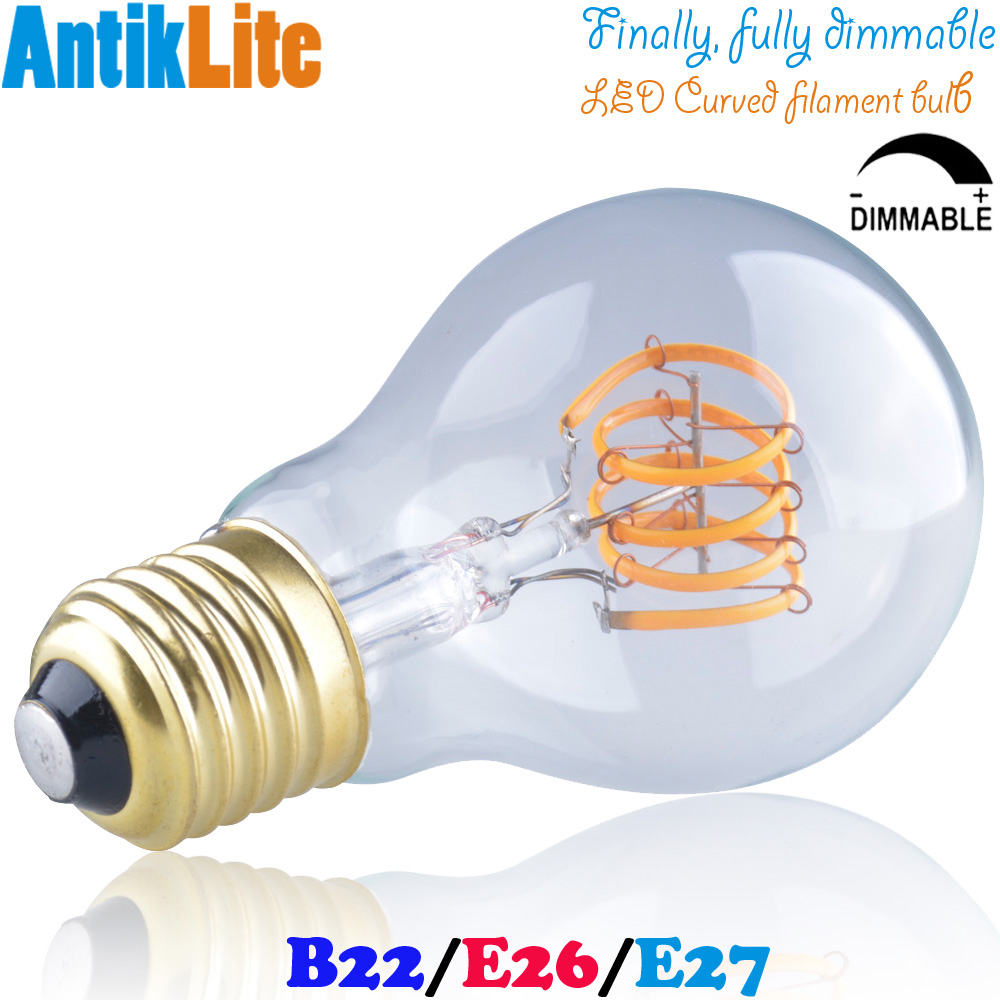 Medium BC/ES Based E27 3 Watt Dimmable Sunset Warm White A60 Standard Pear Shaped Clear Glass Quad Loop LED Curved Filament Bulb