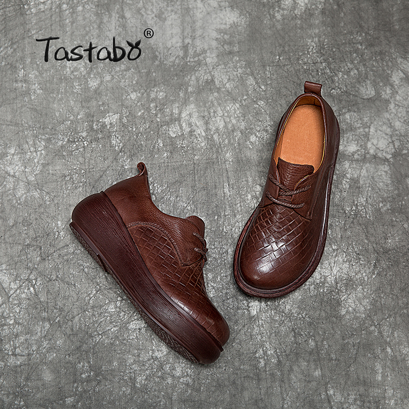 Tastabo Genuine Leather Woman Shoes 2019 Spring and summer new style Vintage handmade shoes Flat Platform Casual simplicity