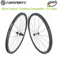 Tubeless ready clincher wheelsets 30mm 25mm for road bicycle, straight pull DT350 hub, Far sports hot selling carbon wheelsets