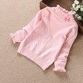 2-5 Anos de Bebê Meninas Blusas 100% Algodão Arco de Manga Longa Pullover Inverno Primavera Outono Crianças Varejo de Vestuário No Atacado