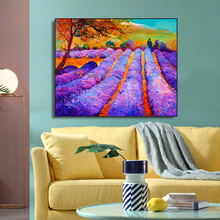Purple Lavender Flowers Field Decor Canvas Painting Calligraphy Wall Pictures Modern Home Artwork No Frame