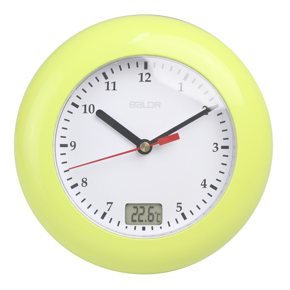 Meijswxj Saat Bathroom Samll Wall Clock Reloj Clock Relogio De Parede Duvar Saati Relogio Bathroom Thermometer Waterproof Clocks