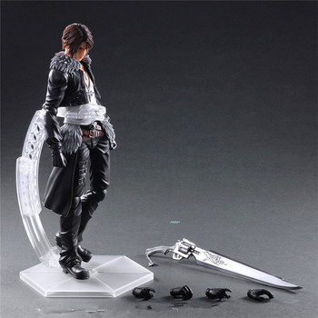 "10"" DISSIDIA FINAL FANTASY FFVIII Squall Leonhart Play Arts Face-lifting PVC Action Figure Collectible Model Toy BOX 26CM L256"