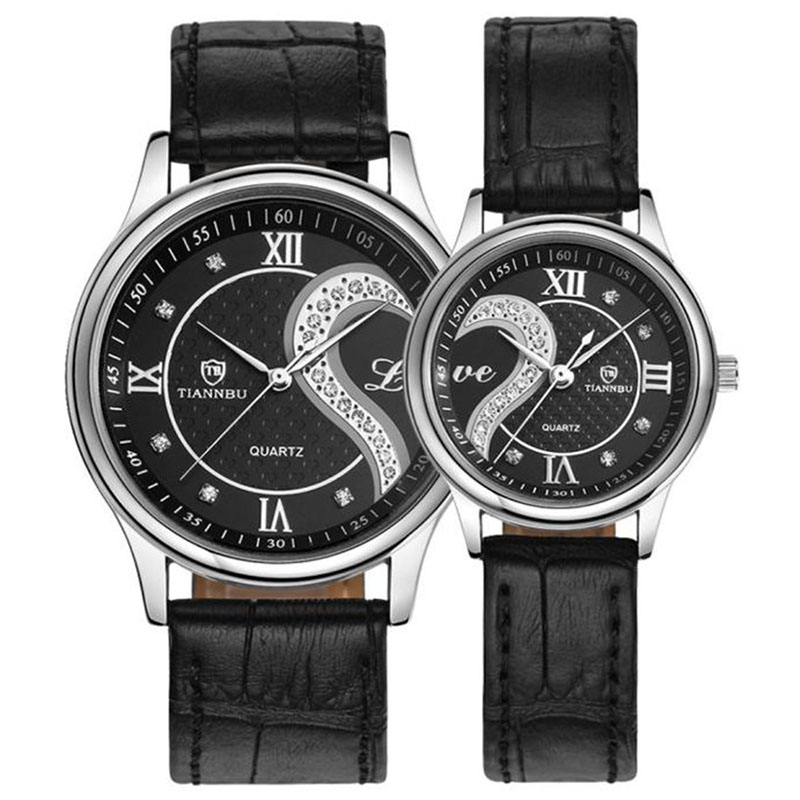 TIANNBU NEW Fabulous 1 Pair/2pc Ultrathin Leather Romantic Fashion Couple Wrist Watches
