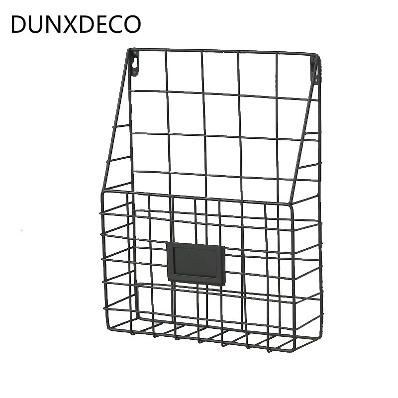 DUNXDECO Home Office Storage Wall Hanging Shelf Iron