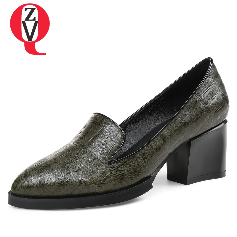 ZVQ shallow slip-on convenient 2018 new arrival high heels pointed toe woman plus size shoes genuine leather woman pumps new arrival genuine leather pointed toe high heels stiletto shallow metal buckle pumps slip on women brand wedding shoes l8f3