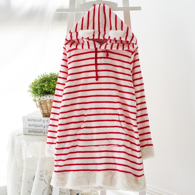 Women's Pajamas Winter Coral Fleece Sleep Stripe Ladies Pyjamas Women Lounge Sleep Tops