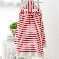 Women's Pajamas Winter Coral Fleece Sleep Stripe Ladies Pyjamas Women Lounge Sleep Tops