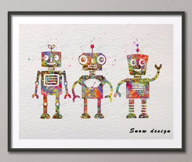 Original Watercolor Robot Wall Art Canvas Painting Nursery Poster Print Pictures Kids Room Home Decoration