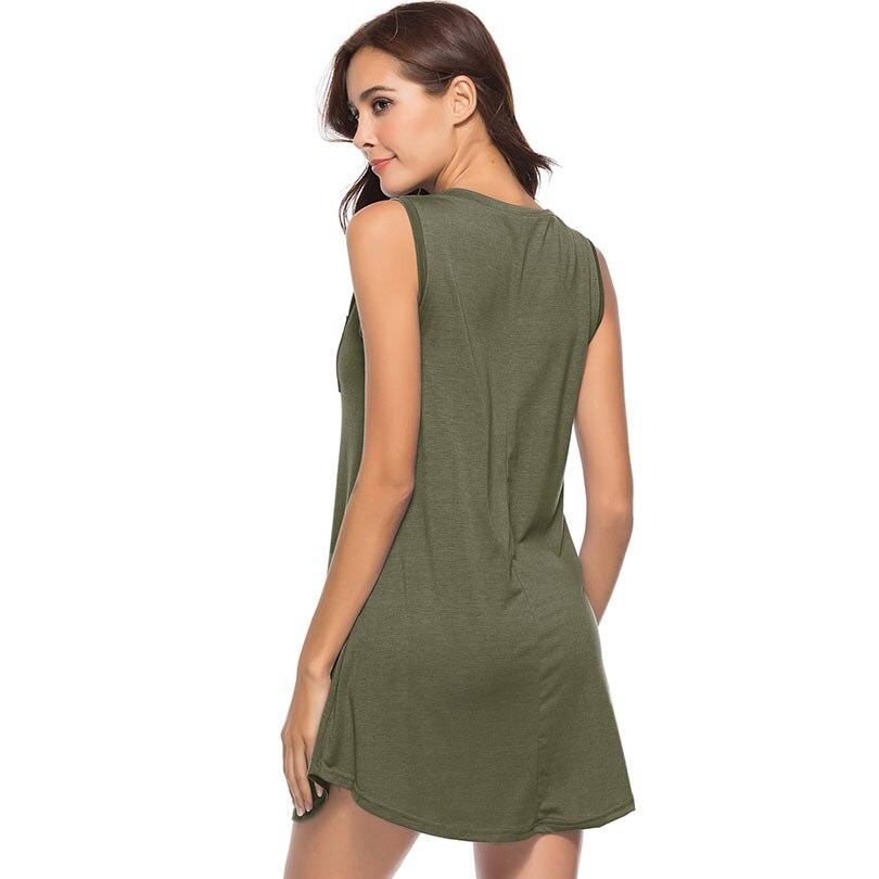 febf65e0cfd Loose T Shirt Dress Summer V Neck Sleeveless Stretch Pinafore Sundress Tank