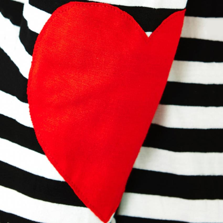 46302984b65b Black And White Striped Shirt Girl Kawaii Red Heart Elbow Patch Irregular Long  Sleeve T shirt Women Off Shoulder Tee Tops-in T-Shirts from Women s  Clothing ...