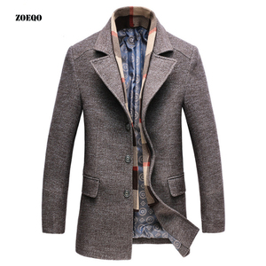 Image 2 - Dropshipping new spring autumn Mens Casual Wool Trench Coat Fashion Business Long Thicken Slim Overcoat Jacket Male Peacoat