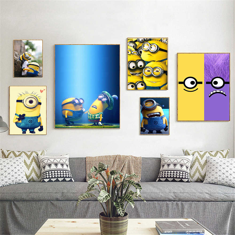 Movie Poster Minions Home Decor Canvas painting Hanging Wall Art Kids  Bedroom Decor Cute Poster Anime Cuadros Decoracion