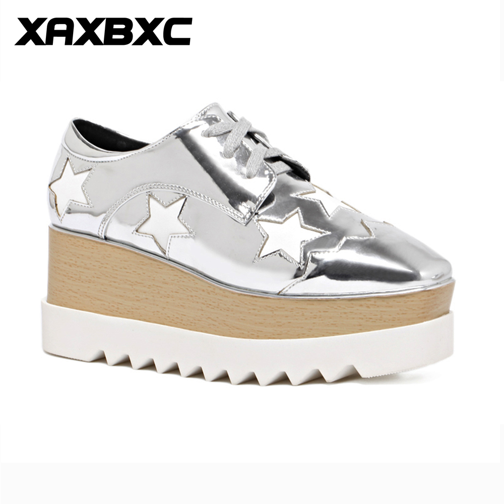 XAXBXC 2018 Spring Fashion Silver Star Platform Women Pumps Square Toe Wedges Women Shoes Handmade Casual