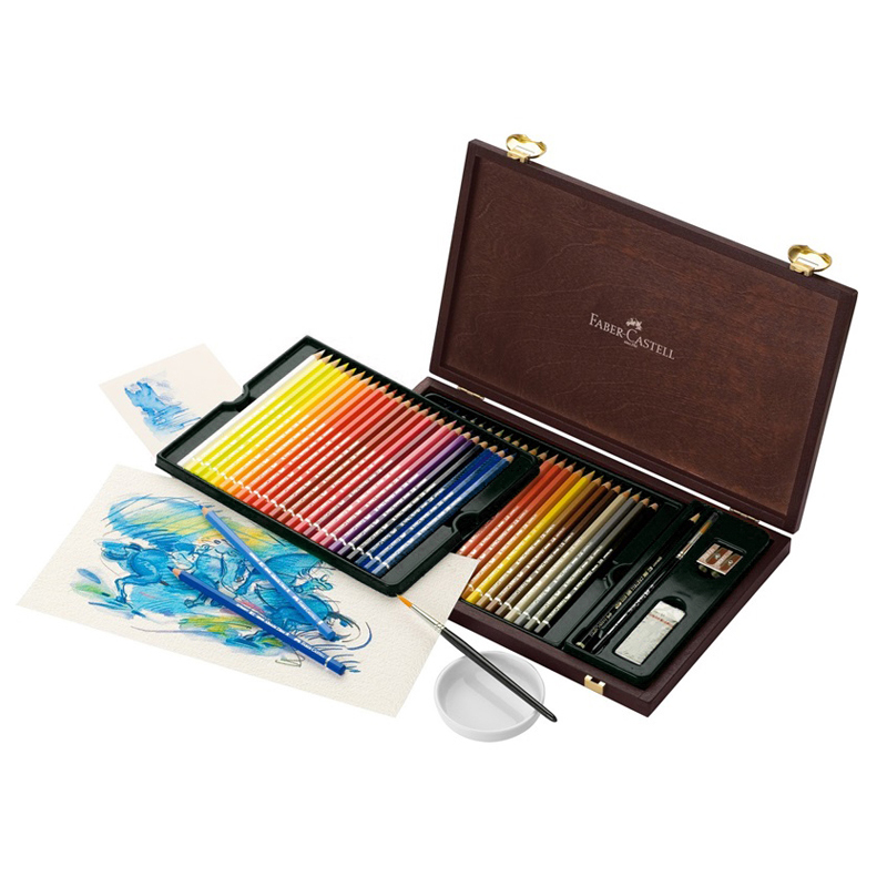 FABER CASTELL 48 color combination art grade water soluble color pencil Coconut wood box painting color lead 117506