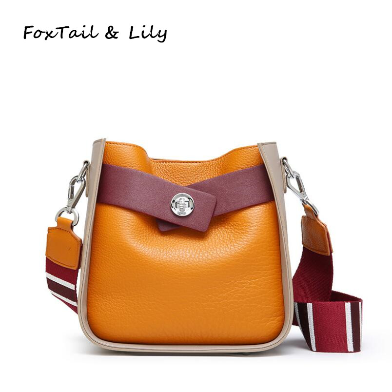 FoxTail   Lily Fashion Panelled Bucket Shoulder Bag Ladies Genuine Leather  Tote Crossbody Bag Women Messenger Bags Three Straps-in Shoulder Bags from  ... 3e79c745bc