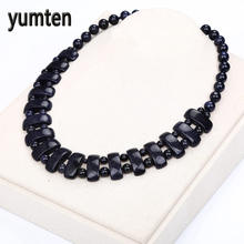 Blue Sandstone Women's Necklace Natural Stone Crystal Bohemian Beads Chain Exquisite Jewelry Party Boho Necklace Perfume Gifts(China)
