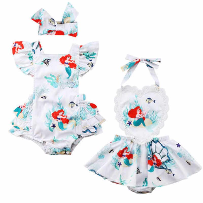 2018新生児キッズベビー女の子レースフライング袖マーメイドボディスーツドレスかわいいカチューシャ夏ツナギ乳幼児衣装服