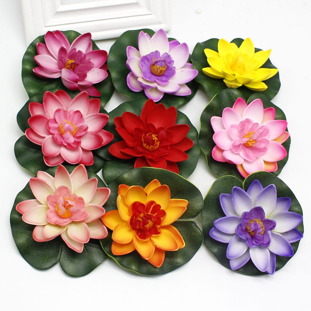 10PCS 10CM Real Touch Artificial Lotus Flower Foam Lotus Flowers Water Lily Floating Pool Plants Wedding Garden Decoration